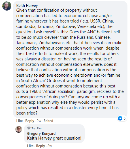 land expropriation Facebook comment