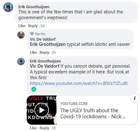 Facebook comments on Nick Hudson address
