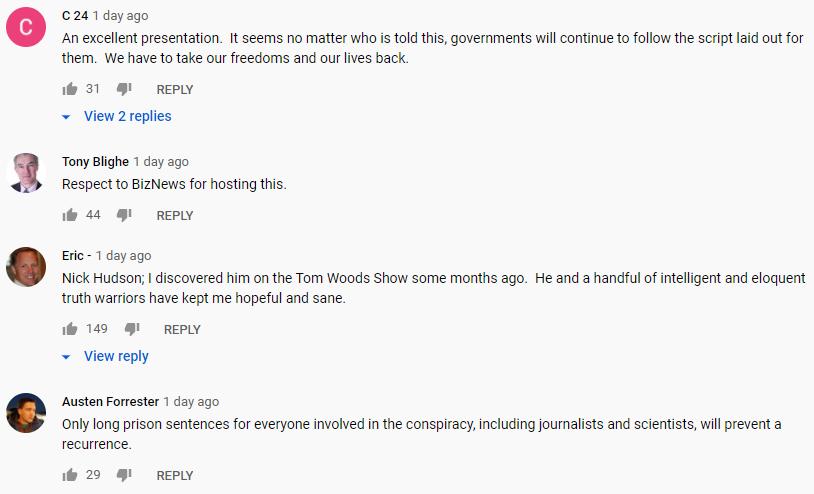 YouTube comments on Nick Hudson address
